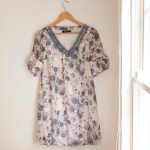 *Vintage* Rose Floral Print Ivory Gray-Blue Dress